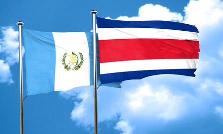 guatemalan: guatemala flag with Costa Rica flag, 3D rendering