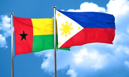 philippino: Guinea bissau flag with Philippines flag, 3D rendering