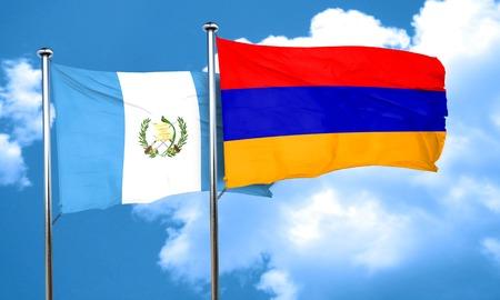 bandera de guatemala: bandera de Guatemala con la bandera de Armenia, 3D