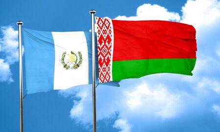 bandera de guatemala: bandera de Guatemala con la bandera de Bielorrusia, 3D
