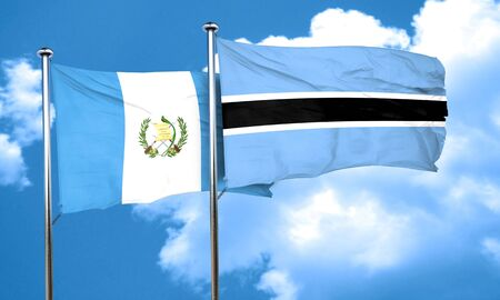 guatemalan: guatemala flag with Botswana flag, 3D rendering