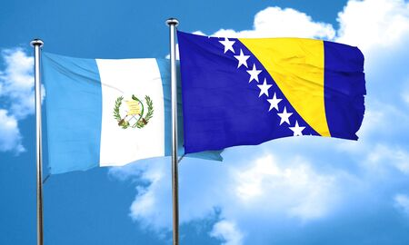 flag of guatemala: guatemala flag with Bosnia and Herzegovina flag, 3D rendering Foto de archivo