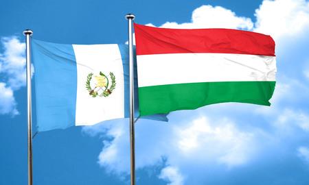 bandera de guatemala: bandera de Guatemala con la bandera de Hungría, 3D