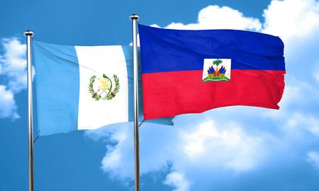 bandera de guatemala: bandera de Guatemala con la bandera de Hait�, 3D