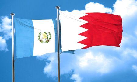 bahrain: guatemala flag with Bahrain flag, 3D rendering