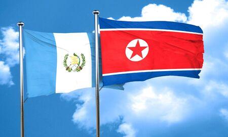 bandera de guatemala: bandera de Guatemala con la bandera de Corea del Norte, 3D