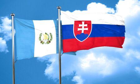 bandera de guatemala: bandera de Guatemala con la bandera de Eslovaquia, 3D