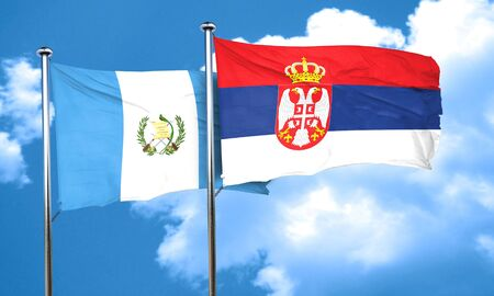 serbia flag: guatemala flag with Serbia flag, 3D rendering Stock Photo