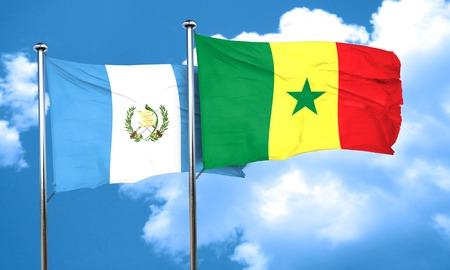 bandera de guatemala: bandera de Guatemala con la bandera de Senegal, 3D Foto de archivo