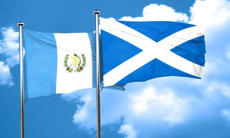 bandera de guatemala: bandera de Guatemala con la bandera de Escocia, 3D Foto de archivo