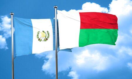 bandera de guatemala: bandera de Guatemala con la bandera de Madagascar, 3D