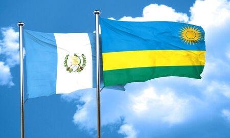 bandera de guatemala: bandera de Guatemala con la bandera de Ruanda, 3D Foto de archivo