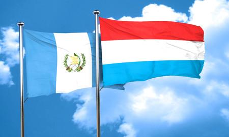 bandera de guatemala: bandera de Guatemala con la bandera de Luxemburgo, 3D Foto de archivo