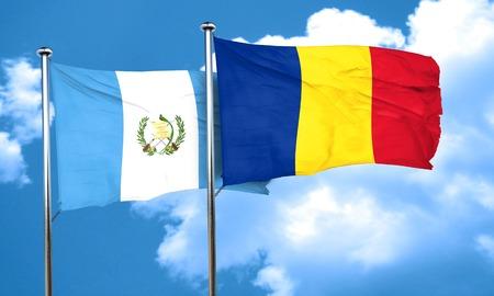 romania flag: guatemala flag with Romania flag, 3D rendering