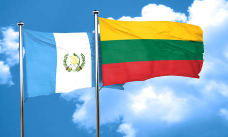 bandera de guatemala: bandera de Guatemala con la bandera de Lituania, 3D