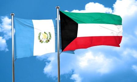 bandera de guatemala: bandera de Guatemala con la bandera de Kuwait, 3D
