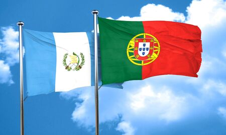 bandera de guatemala: bandera de Guatemala con la bandera de Portugal, 3D