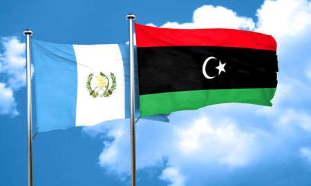guatemala flag: bandera de Guatemala con la bandera de Libia, 3D