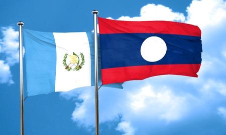 bandera de guatemala: bandera de Guatemala con la bandera de Laos, 3D Foto de archivo