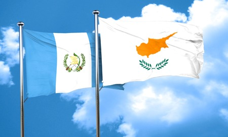 bandera de guatemala: bandera de Guatemala con la bandera de Chipre, 3D