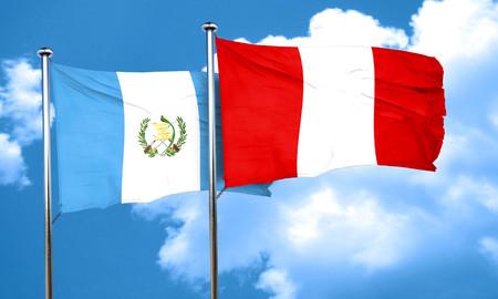 bandera de guatemala: bandera de Guatemala con la bandera de Per�, 3D