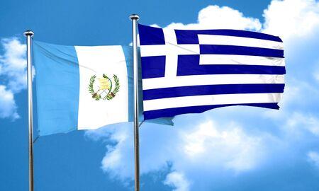 bandera de guatemala: bandera de Guatemala con la bandera de Grecia, 3D