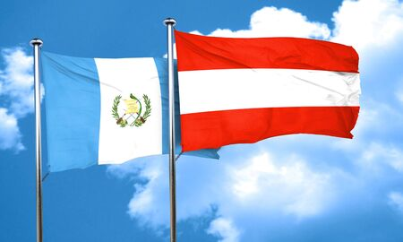 bandera de guatemala: bandera de Guatemala con la bandera de Austria, 3D