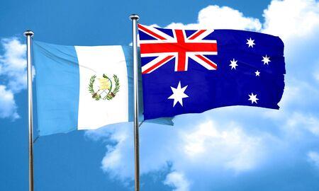 bandera de guatemala: bandera de Guatemala con la bandera de Australia, 3D Foto de archivo