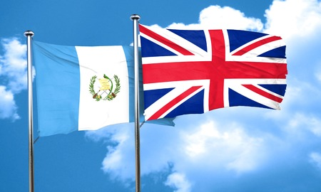 britain flag: guatemala flag with Great Britain flag, 3D rendering