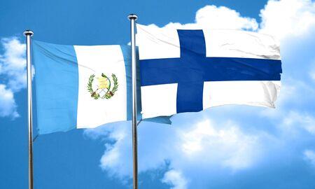 bandera de guatemala: bandera de Guatemala con la bandera de Finlandia, 3D Foto de archivo