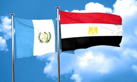 bandera de guatemala: bandera de Guatemala con la bandera de Egipto, 3D