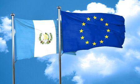 bandera de guatemala: bandera de Guatemala con la bandera de la Unión Europea, 3D Foto de archivo