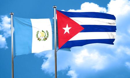 bandera de guatemala: bandera de Guatemala con la bandera de Cuba, 3D Foto de archivo