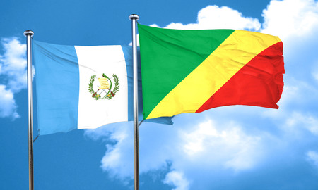 bandera de guatemala: bandera de Guatemala con la bandera de congo, 3D