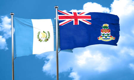 flag of guatemala: guatemala flag with Cayman islands flag, 3D rendering Foto de archivo