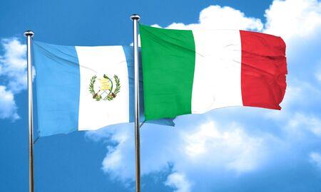 bandera de guatemala: bandera de Guatemala con la bandera de Italia, 3D