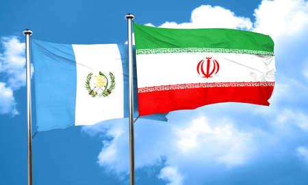guatemalan: guatemala flag with Iran flag, 3D rendering