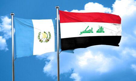 guatemala flag: bandera de Guatemala con la bandera de Irak, 3D