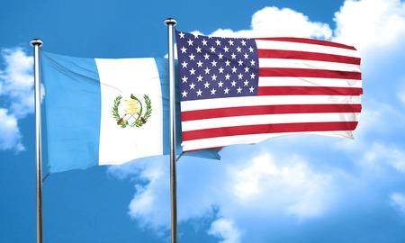 bandera de guatemala: bandera de Guatemala con la bandera americana, 3D Foto de archivo