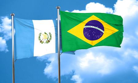 bandera de guatemala: bandera de Guatemala con la bandera de Brasil, 3D