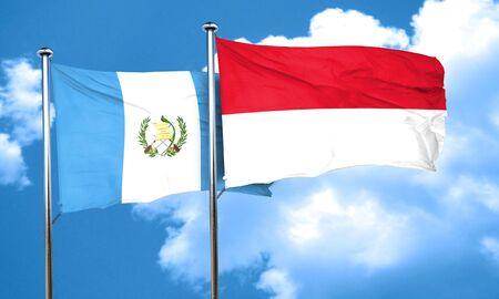 bandera de guatemala: bandera de Guatemala con la bandera de Indonesia, 3D