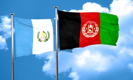 afghanistan flag: guatemala flag with afghanistan flag, 3D rendering