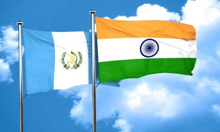 bandera de guatemala: guatemala flag with India flag, 3D rendering