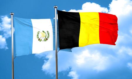 guatemalan: guatemala flag with Belgium flag, 3D rendering Stock Photo