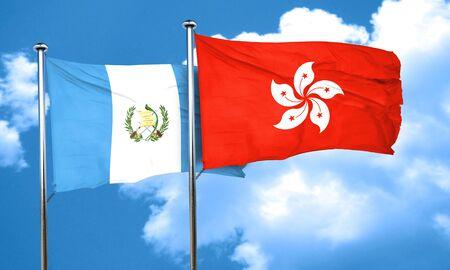 guatemala flag: bandera de Guatemala con la bandera de Hong Kong, 3D