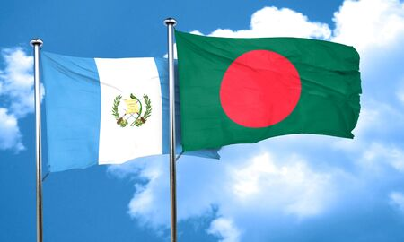 guatemalan: guatemala flag with Bangladesh flag, 3D rendering