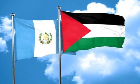 bandera de guatemala: bandera de Guatemala con la bandera de Palestina, 3D