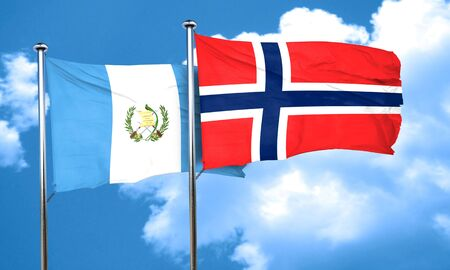 flag of guatemala: guatemala flag with Norway flag, 3D rendering