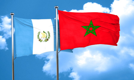 guatemalan: guatemala flag with Morocco flag, 3D rendering