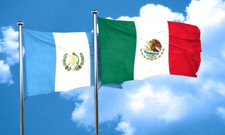 bandera de guatemala: bandera de Guatemala con la bandera de México, 3D Foto de archivo